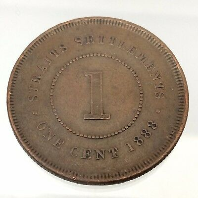 1888 Straight Settlements Queen Victoria One 1 Cent Bronze Penny B589