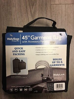 """WallyBags 45"""" Garment Bag with Accessory Pocket Black"""