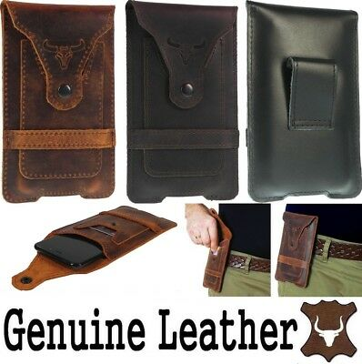 Bull's Head Waist Pouch With Card Pocket Genuine Leather Case For Huawei Phones