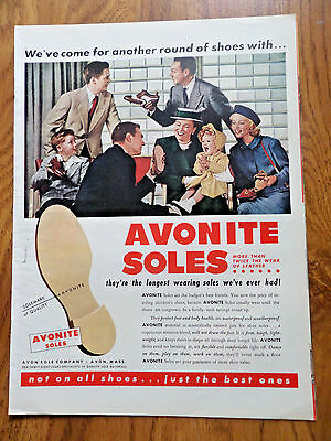 1950 Avonite Soles Ad  We've Come for another Round of Shoes Shoe Repair Theme