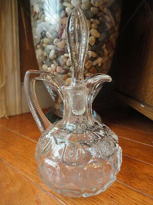 """Westmoreland Old Quilt CRUET Clear Glass Quilted pattern  7"""" t Vintage"""