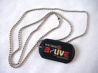 "New Bacardi B-Live Bat Logo 31"" Dog Tag Necklace"