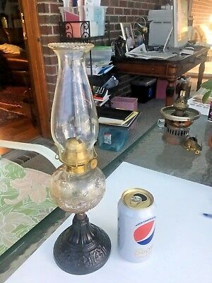 19th c unusual cast-iron base sign D&A mfg. Antique Victorian Oil Lamp N/R