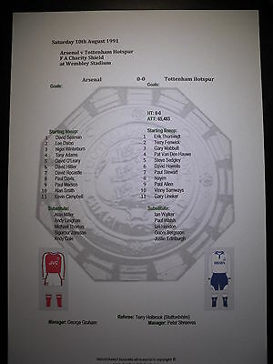1991 FA Charity Shield Arsenal v Tottenham Hotspur matchsheet