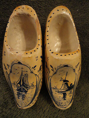 Fresco Holland Wooden Shoe Pair Signed Vintage