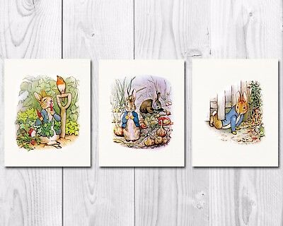 Peter Rabbit Nursery Art,Beatrix Potter Nursery Decor,Set of Three, 8X10 Prints