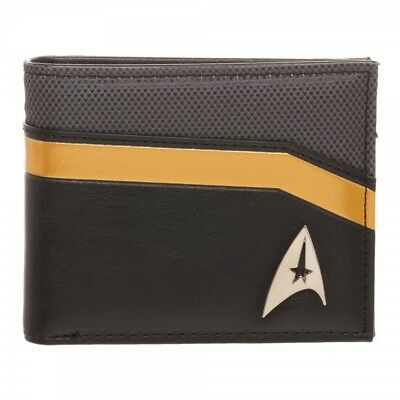 Star Trek Bifold Wallet - Command Yellow Gold Black Metal Badge OFFICIAL LICENSE