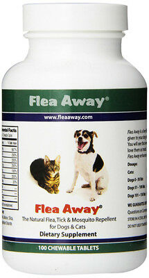 FLEA AWAY - All Natural Flea Repellent for Dogs and Cats - 100 Chewable Tablets