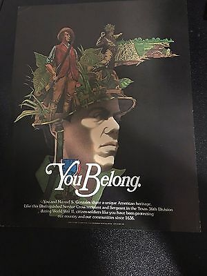1975 Army National Guard You Belong Manuel Gonzales WWll Srgnt Recruiting Poster
