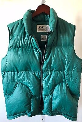 Rare Class-5 Kelly Green Zip Front Down Puffer Vest Sz L Made In USA