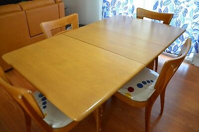 Heywood Wakefield Dining Set & Dog Bone Chairs Art Deco, Mid Century Modern 1950