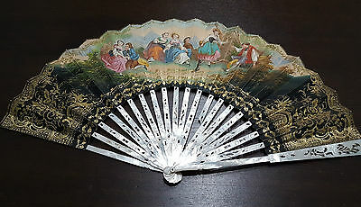 Antique Handfan 19TH CENTURY WITH  (mother-of-pearl) Hand painting
