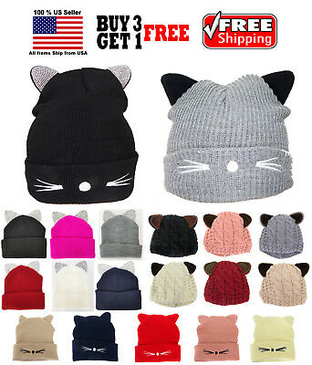Cute Cat Ears Bling Warm Winter Knit Cable Knit Beanie Hat Cap Costume