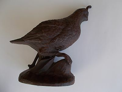 "Quail, Resin, with Detailed Carving, 6.5"" Tall, Excellent Condition"