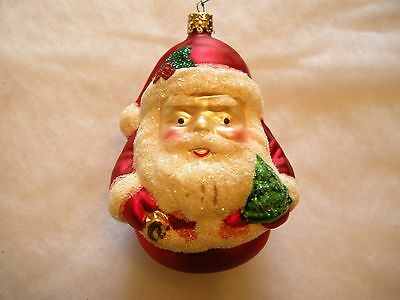 Vintage Glass Christmas Ornaments - Roly Poly Santa - Germany