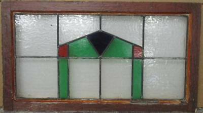 "LARGE OLD ENGLISH LEADED STAINED GLASS WINDOW Cute Geometric 28.75"" x 16.5"""