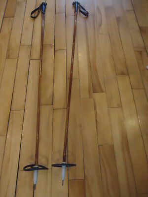"""Vintage Jarvinen  Bamboo Ski Poles Made In Finland  Cross Country 53"""""""