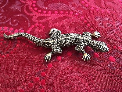 Sterling Silver & Marcasite Salamander Lizard Gecko Pin Brooch Jeweled Eyes 3""