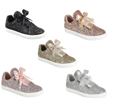 New Womens Sequin Casual Lace Up Tennis Shoes Glitter All Over Sneakers Sz 5-10