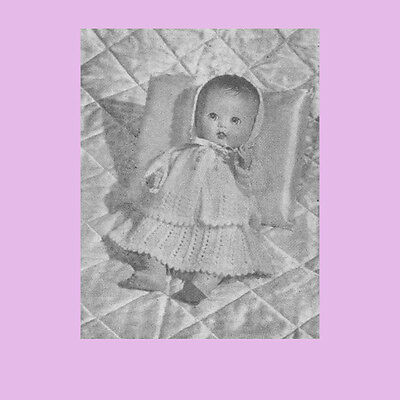 """Vintage Knitting Pattern Copy - Knit A Layette For An 11"""" Baby Doll - 1954"""