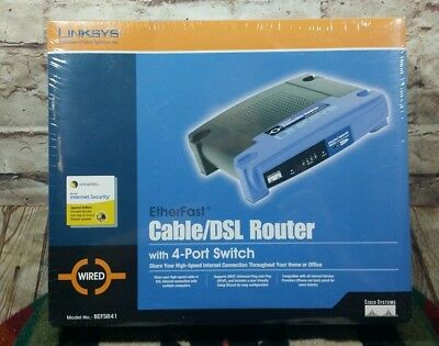 CISCO Linksys BEFSR41 EtherFast CABLE/DSL Router 4-Port 10/100 Switch NEW SEALED