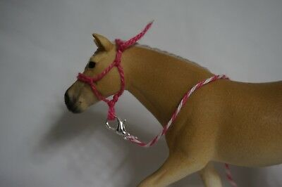 Handmade Schleich Horse Rope Halter with Lead- Pink