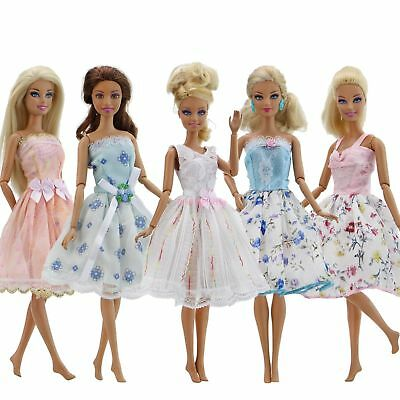 Handmade 5 Colorful Mini Dresses Party Skirts Clothes For Barbie Doll Toy Gift A