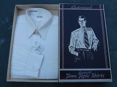 Vintage Mens Town Topic Shirts Button Down White Shirt with Original Box Tags