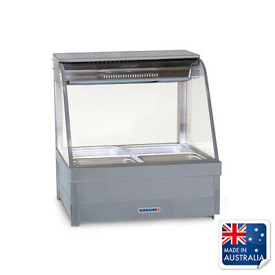 Bain Marie / Hot Food Display Curved Double Row 4x 1/2 Pans & Doors Roband C22RD