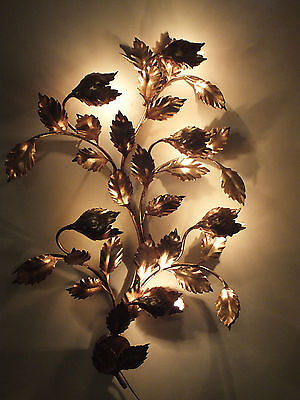 "43""x32"" Hollywood Regency Italy Gold / Gilt Tole Metal Wall Sconce / 6 Light"