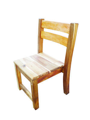NEW 2x Sturdy Stackable Oiled and Stained Kids Acacia Chair for Kinder Children