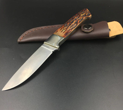 Couteau de Chasse à Lame Fixe, Gaine en Cuir, os / Hunting Knife, Fixed Blade