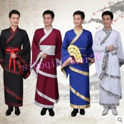Traditional Chinese Ancient Men Scholar Clothing Tang Suit Hanfu Cosplay Dresses
