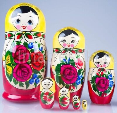NEW Handmade in Russia Matryoshka Nesting Dolls 7pcs Wooden Russian Toy Babushka