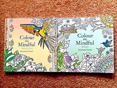 2 Small Adult Colouring Books (Birds & Tropical) New Mindfulness Anti-Stress Set