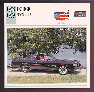 1978-1979 Dodge Magnum XE Hardtop Car Photo Spec Sheet Info Stat ATLAS CARD