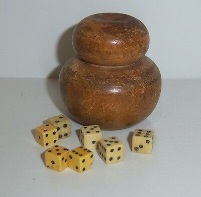 Wood Dice holder with 7 Micro Dice- Vintage