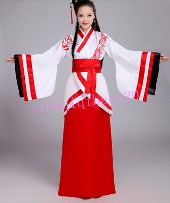Retro Ladies Hanfu Ancient Costume Performance Clothing Floral Dress Gown Stages