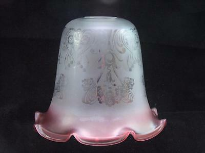 Tulip Shaped Cranberry Glass Light Shade - Acid Etched Pattern - Antique?