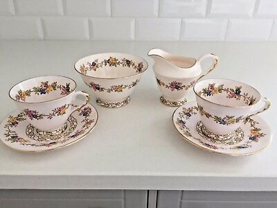 Plant Tuscan PINK Vintage Bone China TEA SET FOR 2 Pink Ground ART DECO 1930s