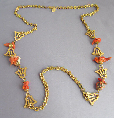 """Vintage Art Deco Long Gold Tone Miriam Haskell Coral Nugget Necklace 30"""""""