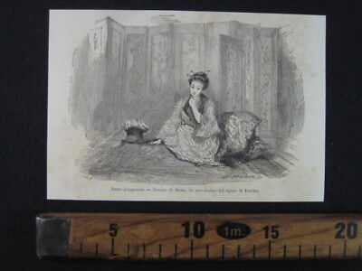 1864 Giappone Dama Giapponese Ritratto Donna Japan Antica Stampa Engraving A13