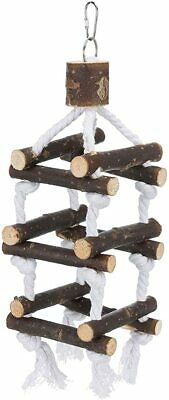 Trixie Bird Rope & Wood Tower Toy With Bell Budgie Canary Perches - 2 Sizes