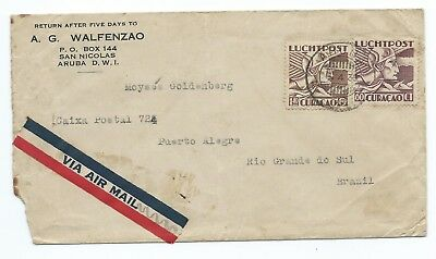 CURACAO: Airmailcover to Brazil1935. Arr.canc.