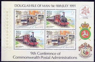 Isle of Man MNH SS, 9th Con. of Commonwealth 1991 Train Railways - M65