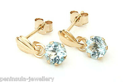 9ct Gold 4mm Blue Topaz drop Earrings Made in UK Gift Boxed