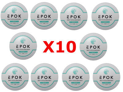 Epok Slim Mint White Clean Snus Dry Portion of Nicotine SnuSet ECO NEW 10 Cans!