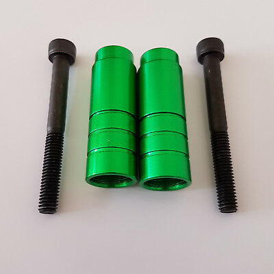 Green Colour Stunt Scooter Pegs With Hardened Steel Axle Bolts (12.9)**new!!!