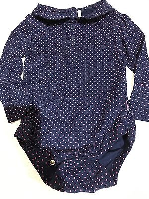 girls navy long sleeved pink polka dot  2 buttons Bodyvest jojo bebe