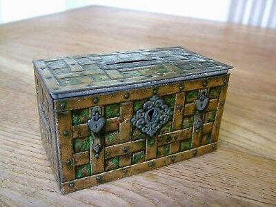 Antique Chubb Chest Money Box Advertising Tin Plate Strong Box No Reserve